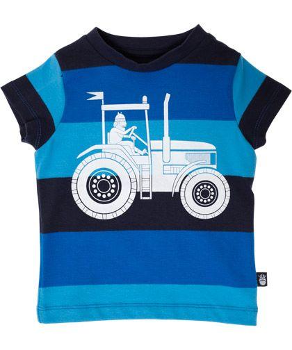 Danefæ blauw gestreepte t-shirt met grote traktor