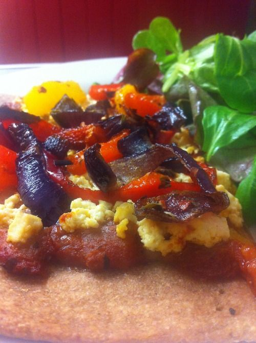 Tofu, Roasted Pepper & Caramelised Onion #Pizza #vegan #wheatfree #food #recipe #vegetarian