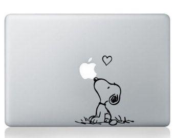 Décalque Macbook Snoopy, Snoopy Love Macbook autocollant, amour Macbook Pro Air stickers, Mac stickers, Stickers ordinateur portable, Apple vinyle autocollant, Die decals