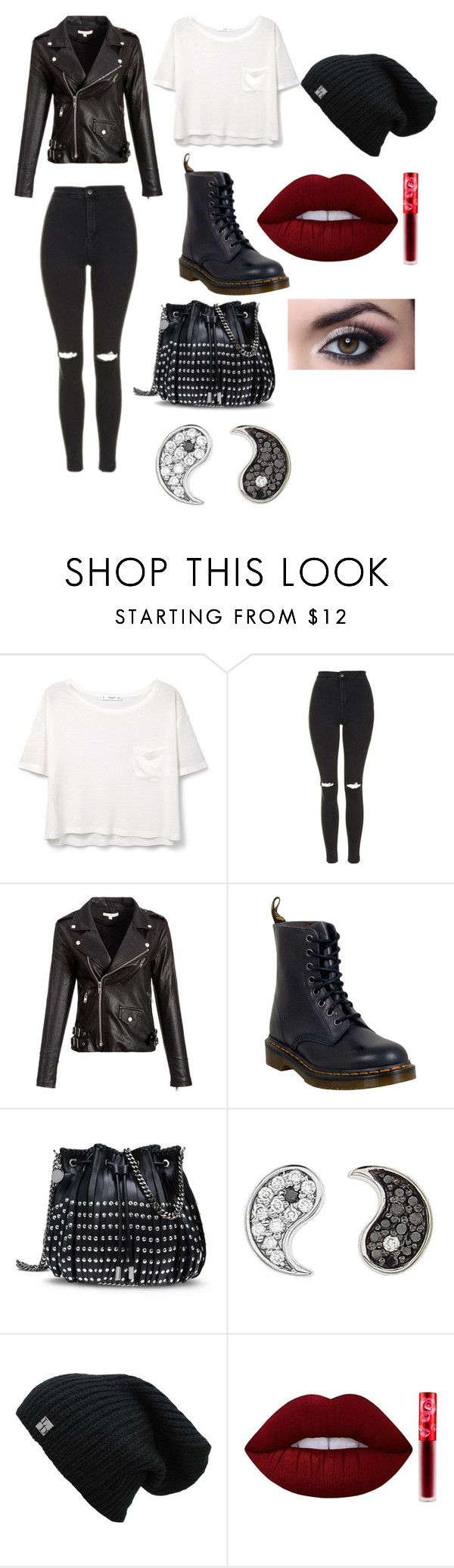 """""""Saturday Night Savage."""" by nrgpatten ❤ liked on Polyvore featuring MANGO, Topshop, Dr. Martens, STELLA McCARTNEY, Sydney Evan and Lime Crime"""