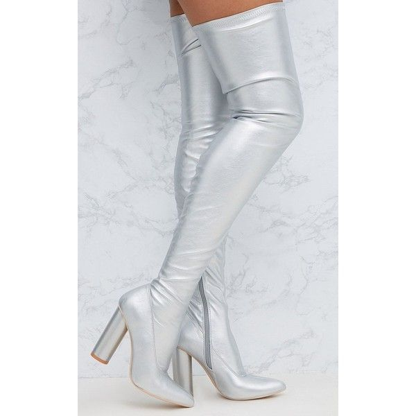 Silver PU Thigh Boot ($40) ❤ liked on Polyvore featuring shoes, boots, grey, polyurethane boots, grey thigh boots, over-knee boots, pu boots and grey over the knee boots
