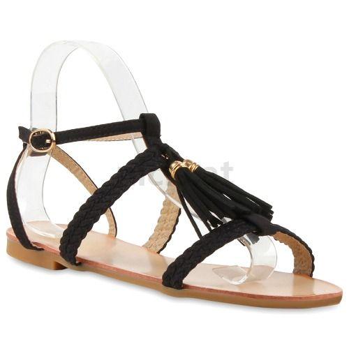 Schuhe Online Kaufen Günstig | Damen Sandalen Riemchen Sandalen - Schwarz