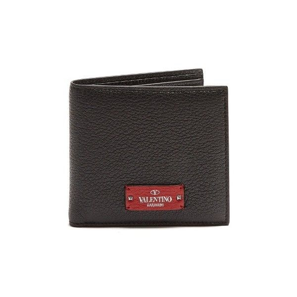 Valentino Micro-Rockstud embellished leather wallet (960 BRL) ❤ liked on Polyvore featuring men's fashion, men's bags, men's wallets, black, mens leather bifold wallet, bi fold mens wallet, valentino mens wallet, mens leather wallets and mens bifold wallet