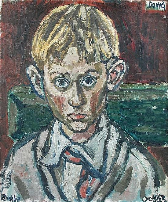 "John Bratby, RA (British, 1928-1992). Portrait of the Artist's Son, David Bratby, dated ""Oct. '63"", oil on board, h:34 w: 29 cm."
