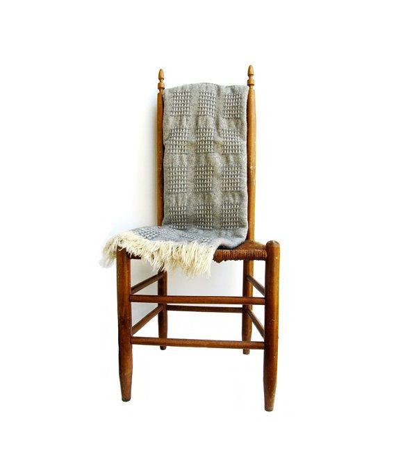 Vintage Pendleton Wool Blanket Gray Cream Fringe by EncoreEmporium