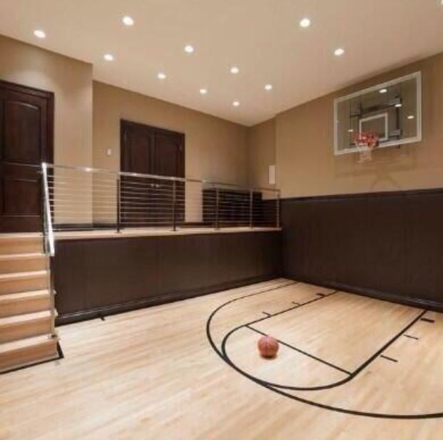 17 best images about indoor basketball court on pinterest for Basketball court inside house