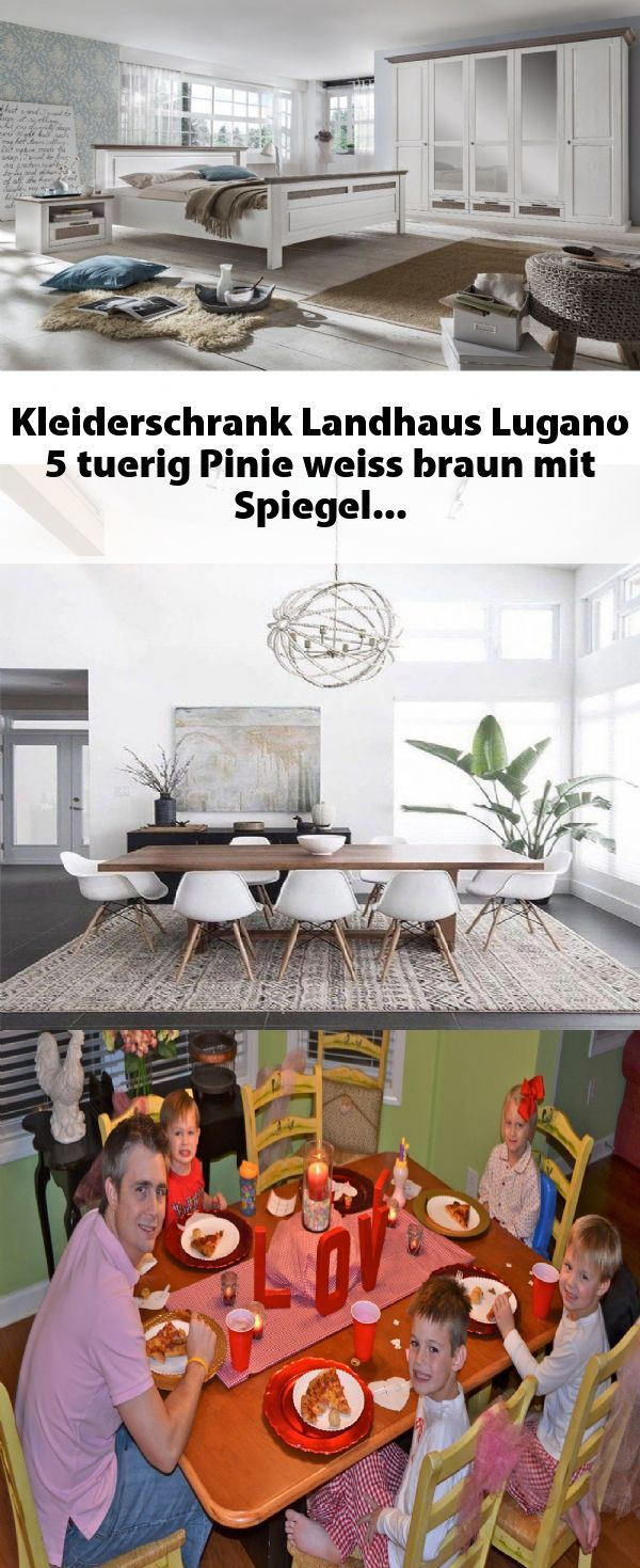 Kleiderschrank Landhaus Lugano 5 Tuerig Pinie Weiss Braun Mit