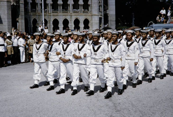 Malaysia Malayan Navy Men Marching In Independence Day Parade Independence Day Parade Navy Man Independence Day