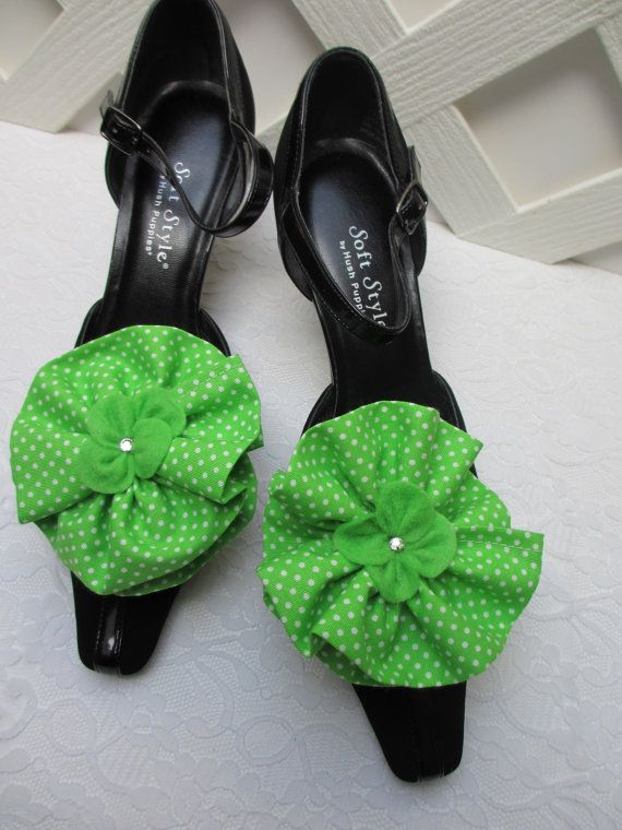Lime Green Flower Shoe Clips, Apple Green Shoe Clips, Green Polka Dot Shoe Clips, White and Green Weddings, Matching items available! by Bridal Loft on Etsy #etsy
