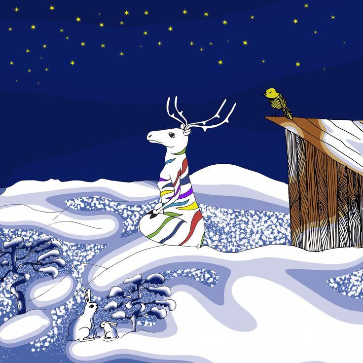Children's book illustration. Peetu istuu Kuninkaanlaavun kupeessa.