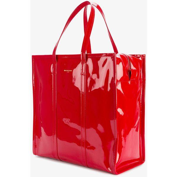 Balenciaga Large Red Patent Bazar Shopper Bag ($1,735) ❤ liked on Polyvore featuring bags, handbags, tote bags, patent leather tote bag, red tote, balenciaga handbags, balenciaga tote bag and red patent leather handbag