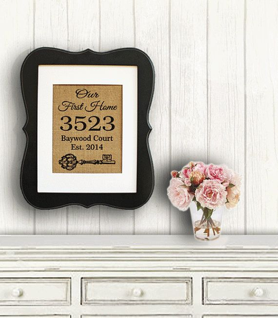 Personalized Housewarming Gift Burlap Print ~ Home Address Sign - New House Gift - Our First Home - Custom House Numbers