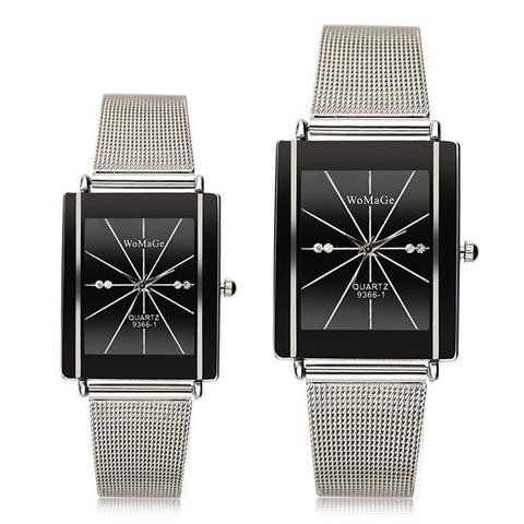 WOMAGE 9366-1 Men Women Lovers Casual Square Stainless Steel Quartz Couple Watch