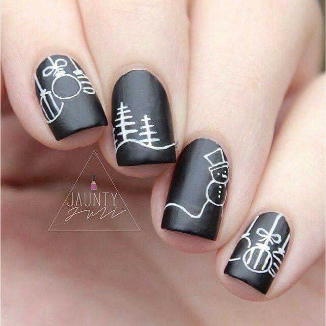 Christmas black nails