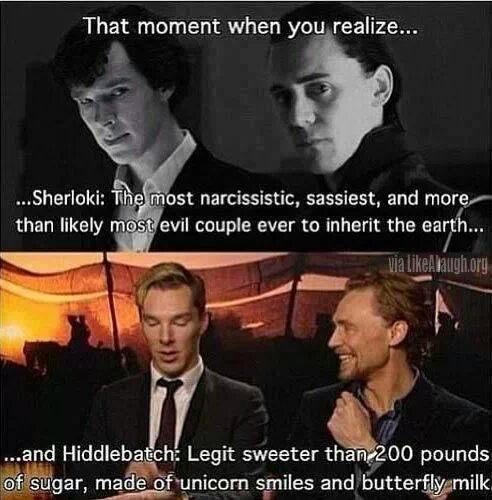 """Sherloki and Hiddlebatch. I'm pinning this soley for the phrase """"made of unicorn smiles and butterfly milk"""""""