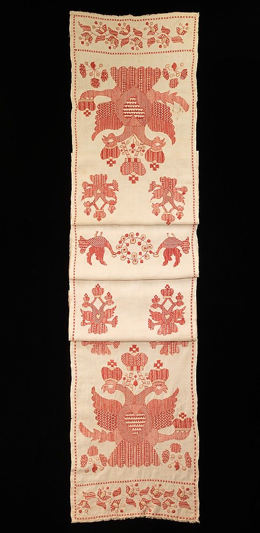 Towel, 1780–1820. Russian. The Metropolitan Museum of Art, New York. Brooklyn Museum Costume Collection at The Metropolitan Museum of Art, Gift of the Brooklyn Museum, 2009; Gift of Mrs. Edward S. Harkness in memory of her mother, Elizabeth Greenman Stillman, 1931 (2009.300.3461)   Towels such as these were used for ceremonial as well as decorative purposes. In wedding ceremonies the length of the towel was used to bind the couple together, both literally and figuratively.