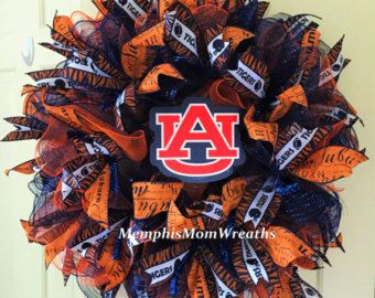 Auburn Orange Burlap Wreath Auburn Wreath by ADoorAbleCreationz