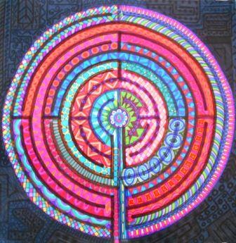 Título: El camino de los secretos Autor: Aurora Luna Walss Dimensiones 49 X 49 cm Técnica: Sharpies sobre papel
