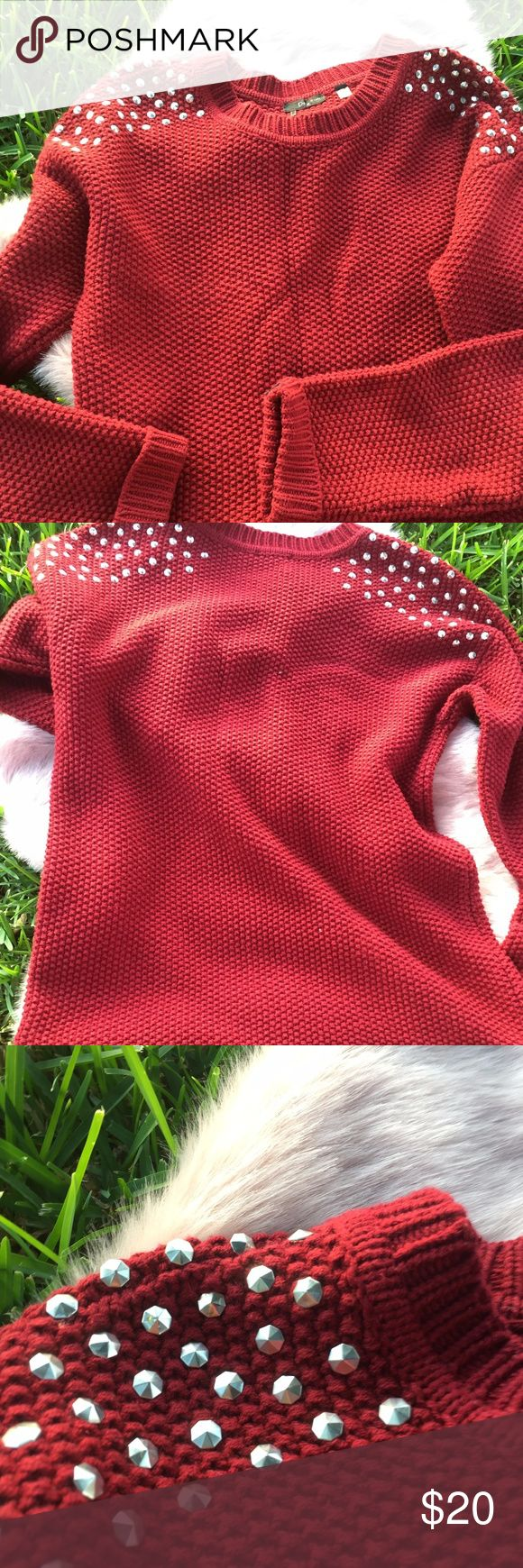 Burgundy Studded Sweater Boutique shop burgundy studded sweater It's a baggy fit sweater Boohoo Sweaters Crew & Scoop Necks
