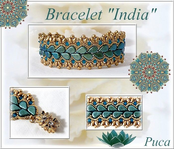 """""""India"""" bracelet with Amos® by Puca® Metallic Mat Green Turquoise   clasp Claspgarten   The diagram is available :)"""