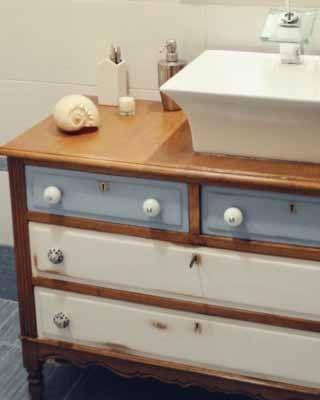 Transformar una c moda en un mueble de lavabo tutoriales for Como hacer lavabos