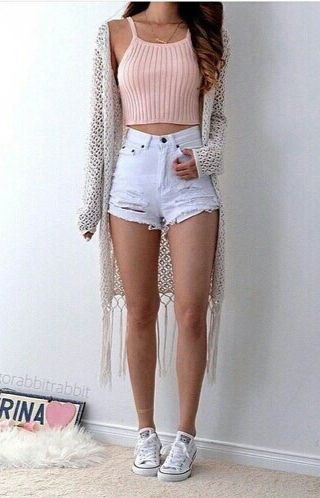 Crop top + cutoff shorts + kimono