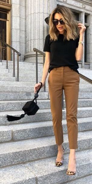 Tan brown cropped pants, black tshirt, leopard heels pumps. Cute date night or c…