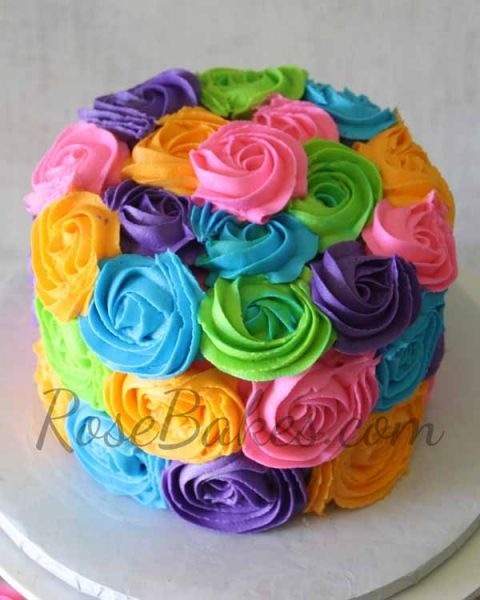 Bright Buttercream Roses Cake