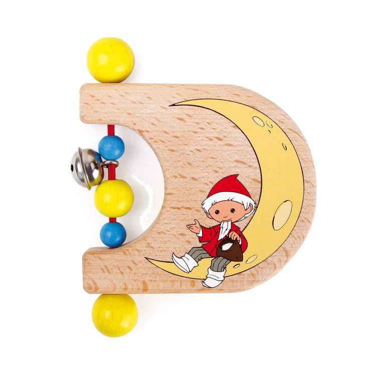 Mr. Sandman, breng me een droom! Deze houten speelgoed greep trekt de aandacht van de baby met zijn kleurrijke houten kralen en kleine klokken. Het verheugt ook met de schattige Sandman motief.