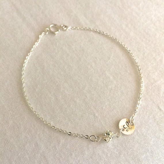 Bridesmaid Personalized Bracelet Dainty Disc by StampedSchmuck