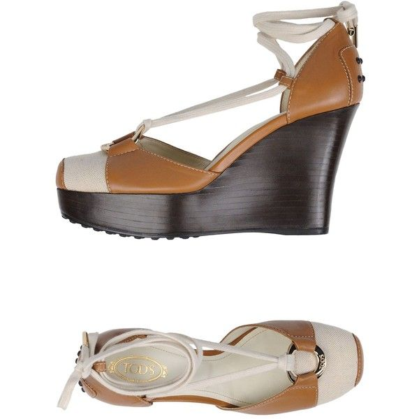 Tod's Court ($305) ❤ liked on Polyvore featuring shoes, pumps, camel, camel pumps, round toe wedge pumps, leather shoes, print pumps and animal print shoes