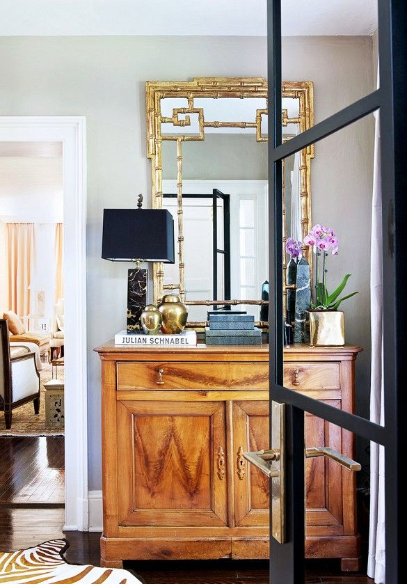 Decorating Ideas for Your Home's 5 Smallest Spaces// bamboo mirror, marble lamp, vignette styling