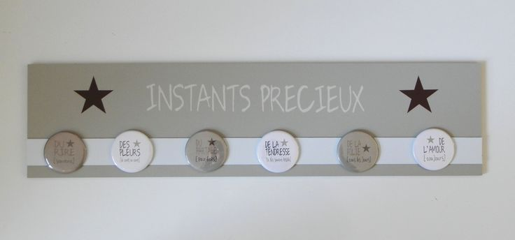 Tableau magnétique 15x60 Taupe et Beige - Instants Précieux : Décorations murales par les-murs-murmurent