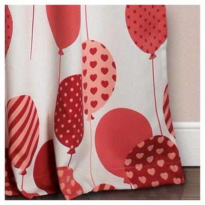 "Flying Balloon Room Darkening Window Curtain Set Pink 52""x84"") - Lush Décor"