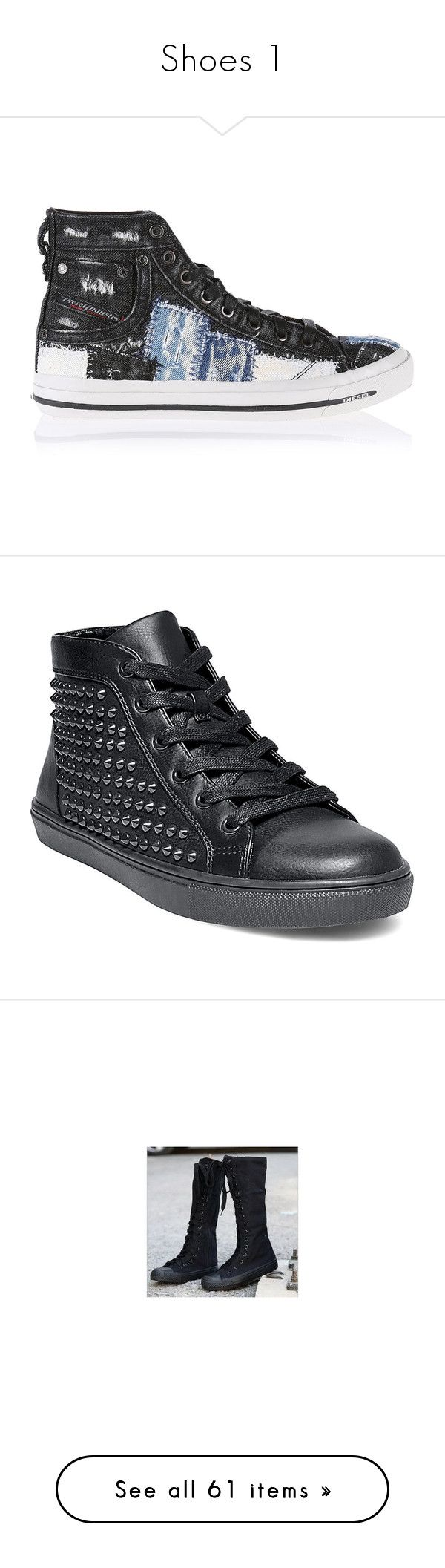 """Shoes 1"" by xxxxtherazorbladesreliefxxxx ❤ liked on Polyvore featuring shoes, sneakers, black denim, casual shoes, women, black laced shoes, diesel trainers, diesel footwear, black lace up sneakers and lace up shoes"