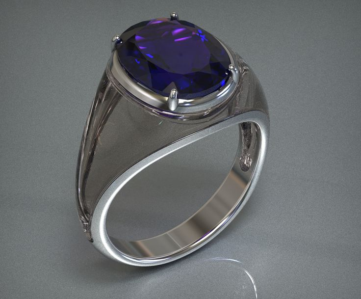 Tanzanite, Acrylic and white gold Ring, floating design