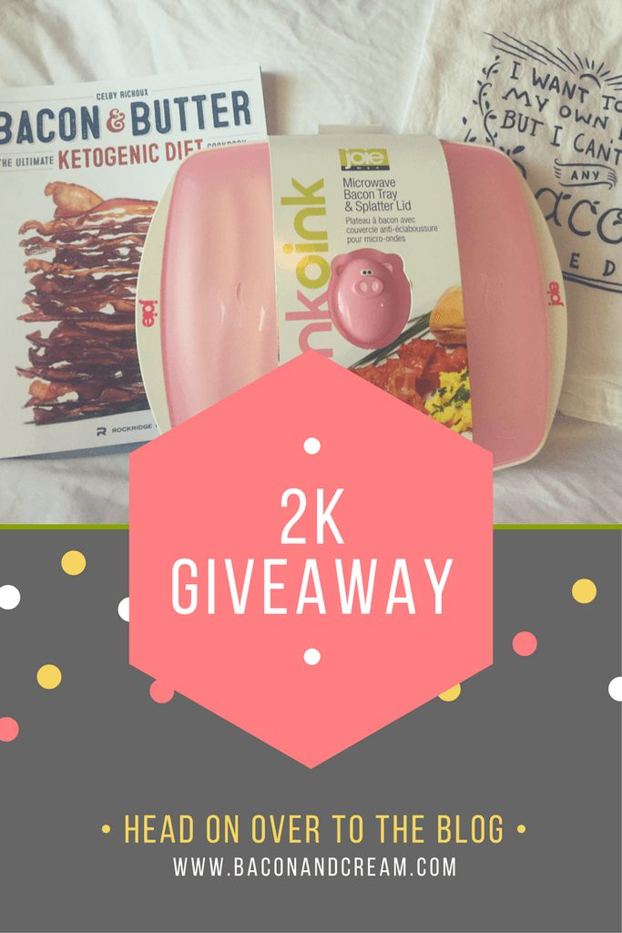 Enter for free to win microwaveable bacon tray with lid, bacon & butter ketogenic diet recipe cookbook, and bacon seeds humor tea towel! 2K Bacon Giveaway now thorugh 5/5