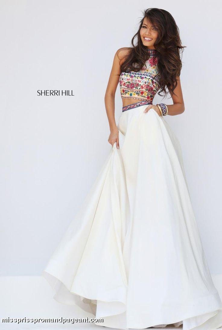 50080 Sherri Hill prom spring 2016 boho cross stitch embroidery 2 piece crop top dress gown