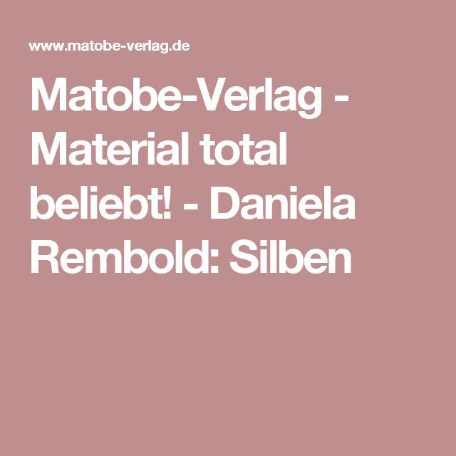 Matobe-Verlag - Material total beliebt! -  Daniela Rembold: Silben