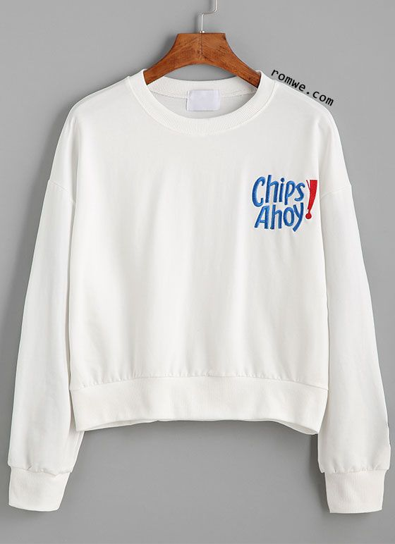 White Drop Shoulder Letter Embroidered Sweatshirt