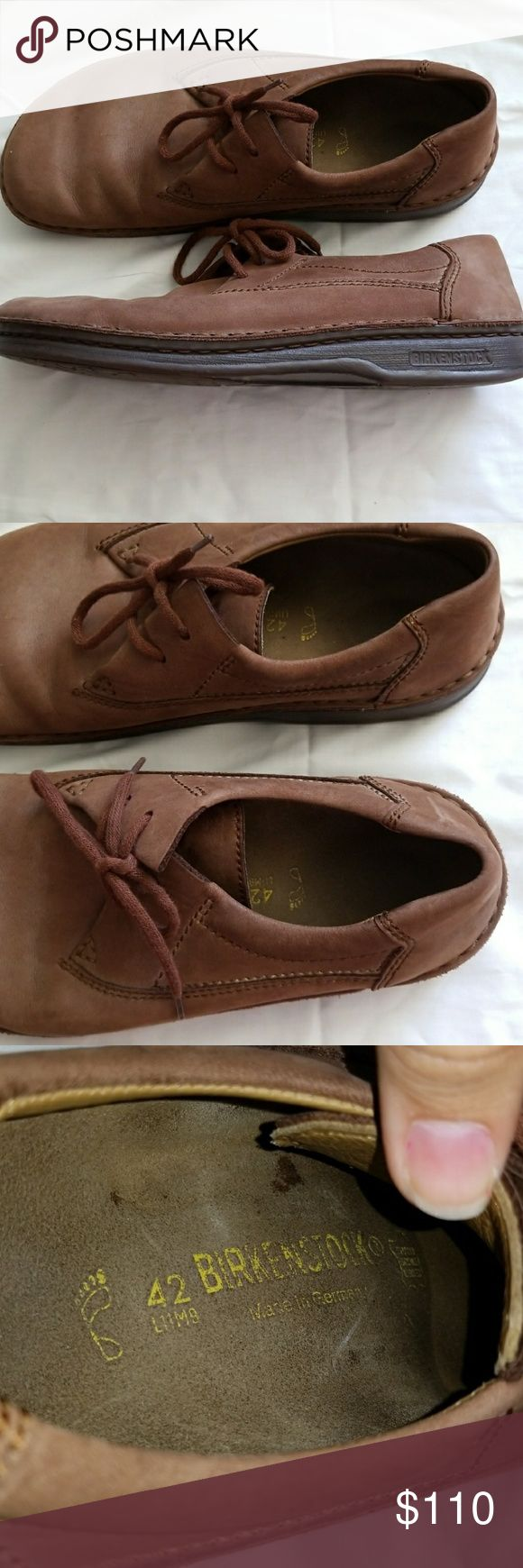 Brown Mens Birkenstock Shoes Medium to dark brown suede mens loafers. Worn once in great shape. Some slight marks underlaces not noticeable when worn. Shoelace ties on top. Sz 42   Perfect gift for Fathers day!!  Mens size 9 Women's size 11  Very willing to negotiate Birkenstock Shoes Loafers & Slip-Ons