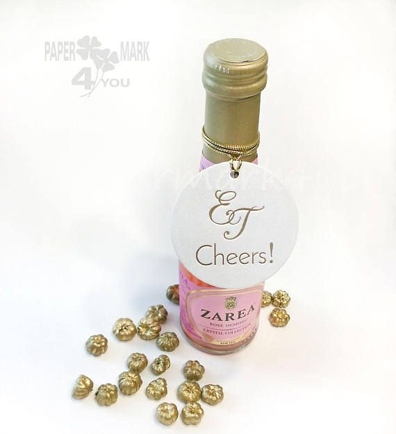 24 Foil Cheers Round Tag_ Real Gold Foil Wedding Personalized