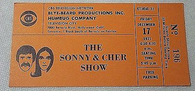 THE SONNY & CHER SHOW TV Taping Ticket- Friday, December 17, 1971