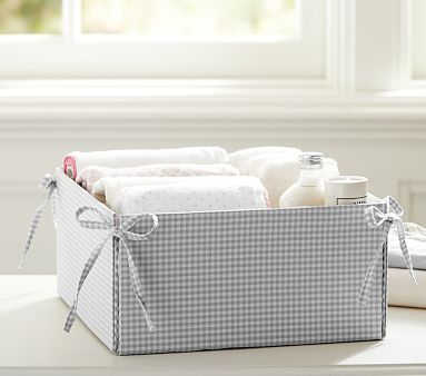 "Gray Gingham Storage #pbkids $23 - good for linen closet! 12"" square, 6"" high"