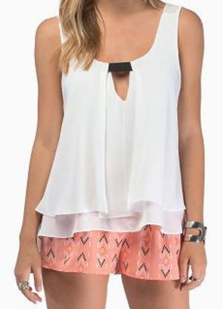 Cute and Comfy! Love Pink + White! Sheer Stylish Scoop Neck Sleeveless Multi-Layered Chiffon Tank Top