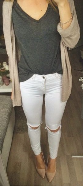 Dark grey v-neck, white distressed jeans, neutral cardigan, nude pointy toe heels.