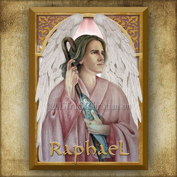 St. Raphael the Archangel Wood Plaque & Holy Card GIFT SET, Patron of Lovers #3160