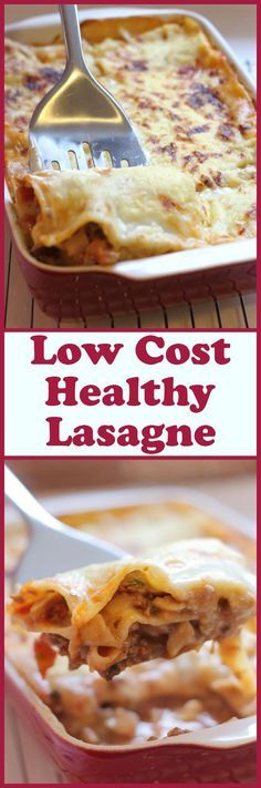This low-cost healthy lasagne, is a healthier version of the classic Italian family favourite. Ready in under one hour, this recipe makes 4 - 6 portions, each one being only 351 calories per slice, plus it doesn't cost much to make. Bellissimo!