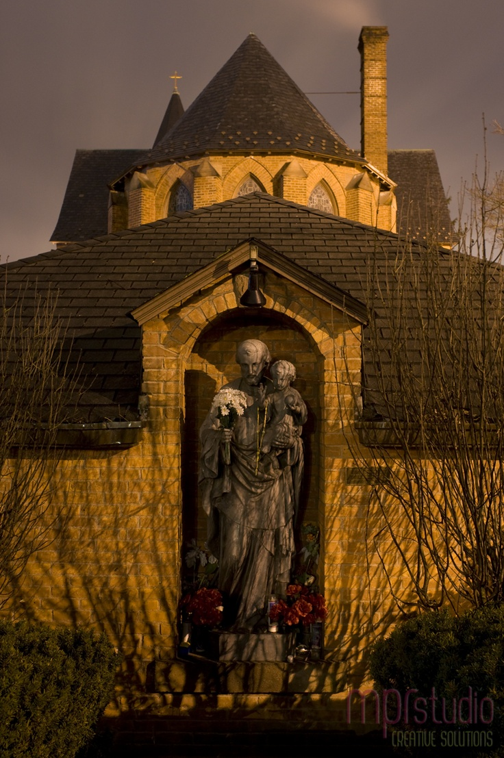 Statue at St. Ann's Catholic Church in Nyack, New York. I used to sit on the wall in front of this statue to read, write & pray. I grew up going to this church.