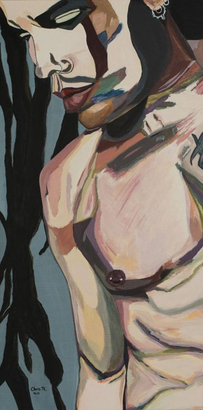 """""""Stillness of Heart"""" by Christel Roelandt. Acrylic painting on Canvas, Subject: Nudes and erotic, Urban and Pop style, One of a kind artwork, Signed certificate of authenticity, This artwork is sold unframed, Size: 50 x 100 x 1.5 cm (unframed), 19.69 x 39.37 x 0.59 in (unframed), Materials: acrylic paint with brush"""
